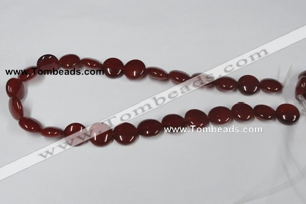 CAA157 15.5 inches 15mm flat round red agate gemstone beads