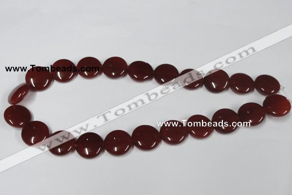 CAA158 15.5 inches 18mm flat round red agate gemstone beads