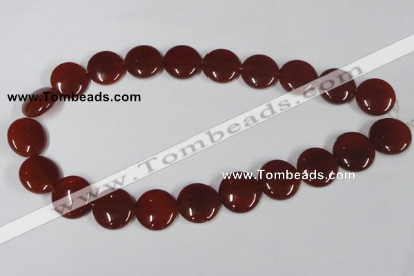 CAA159 15.5 inches 20mm flat round red agate gemstone beads