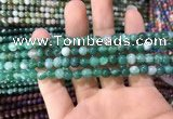 CAA1590 15.5 inches 4mm round banded agate beads wholesale