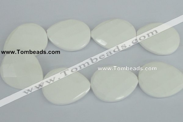 CAA16 15.5 inches 40*50mm faceted flat teardrop white agate beads