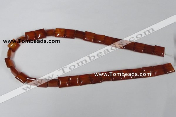 CAA160 15.5 inches 12*12mm square red agate gemstone beads