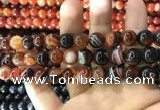 CAA1624 15.5 inches 12mm round banded agate beads wholesale