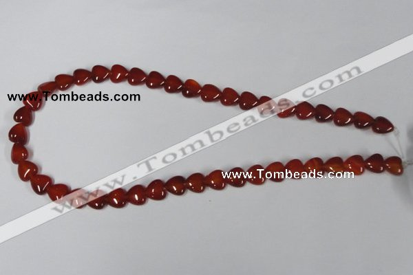 CAA163 15.5 inches 10*10mm heart red agate gemstone beads