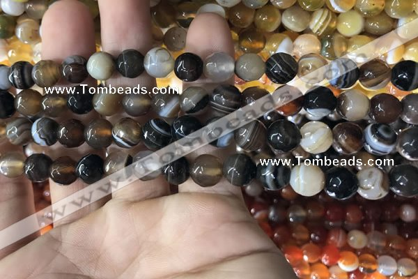 CAA1636 15.5 inches 8mm faceted round banded agate beads