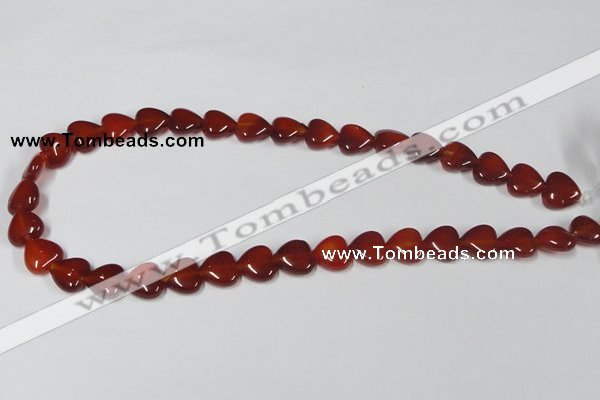 CAA164 15.5 inches 12*12mm heart red agate gemstone beads