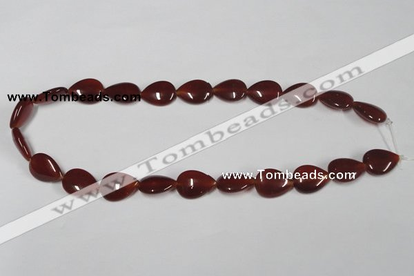 CAA165 15.5 inches 13*18mm flat teardrop red agate gemstone beads