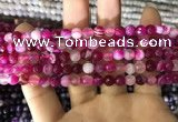CAA1655 15.5 inches 6mm faceted round banded agate beads