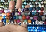 CAA1681 15.5 inches 8mm faceted round banded agate beads