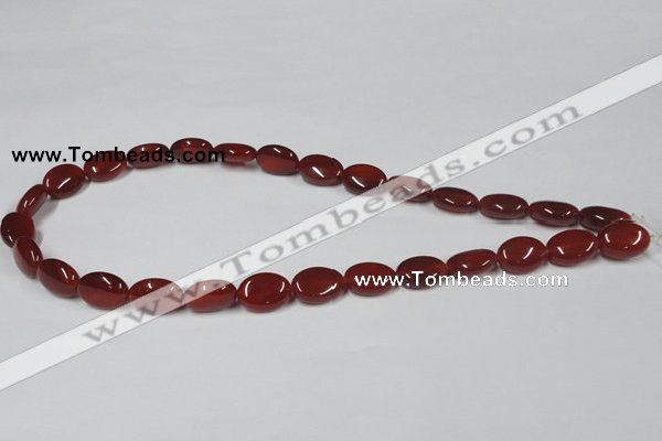 CAA169 15.5 inches 10*14mm oval red agate gemstone beads