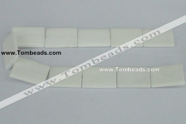 CAA17 15.5 inches 25*35mm rectangle white agate gemstone beads