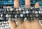 CAA1701 15 inches 8mm faceted round fire crackle agate beads