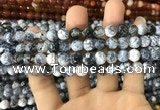 CAA1702 15 inches 8mm faceted round fire crackle agate beads