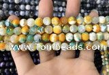CAA1707 15 inches 8mm faceted round fire crackle agate beads