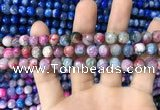 CAA1708 15 inches 8mm faceted round fire crackle agate beads