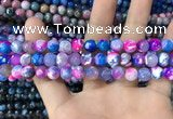 CAA1709 15 inches 8mm faceted round fire crackle agate beads