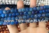 CAA1715 15 inches 8mm faceted round fire crackle agate beads