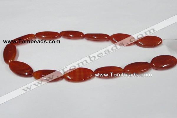 CAA173 15.5 inches 15*30mm oval red agate gemstone beads