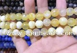 CAA1731 15 inches 10mm faceted round fire crackle agate beads