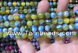 CAA1769 15 inches 8mm faceted round fire crackle agate beads