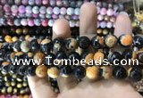 CAA1776 15 inches 10mm faceted round fire crackle agate beads