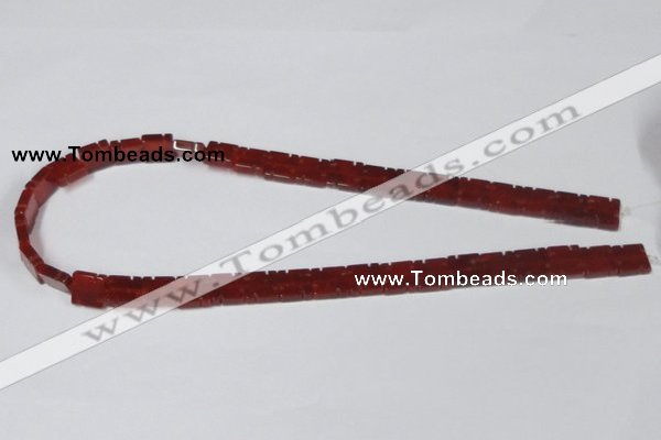 CAA178 15.5 inches 10*10mm carved square red agate gemstone beads