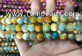 CAA1787 15 inches 10mm faceted round fire crackle agate beads