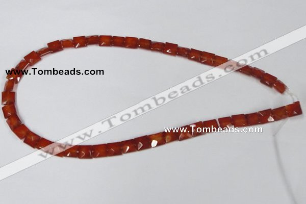 CAA179 15.5 inches 8*8mm faceted square red agate gemstone beads