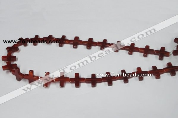 CAA182 15.5 inches 16*16mm cross red agate gemstone beads