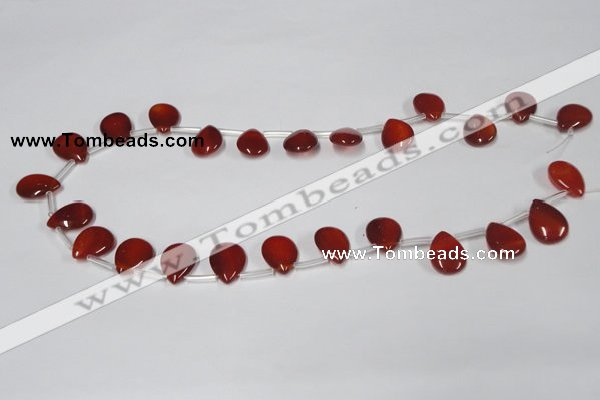 CAA186 Top-drilled 12*16mm flat teardrop red agate gemstone beads