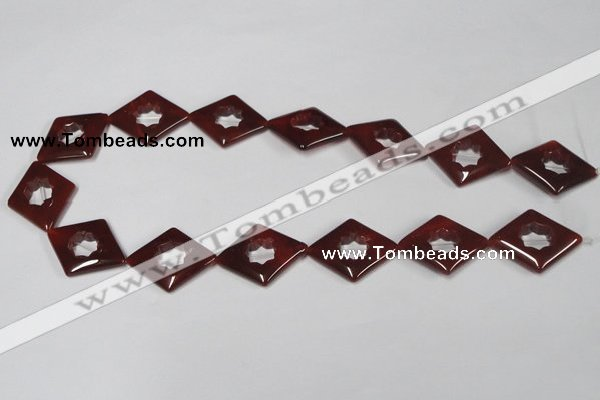 CAA189 15.5 inches 22*28mm diamond red agate gemstone beads