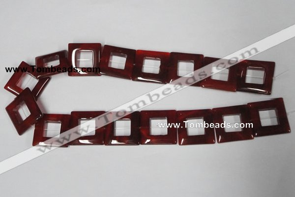 CAA191 15.5 inches 25*25mm square red agate gemstone beads
