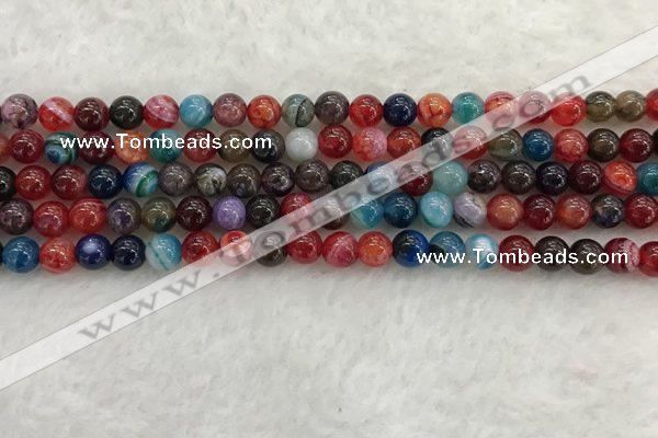 CAA2041 15.5 inches 6mm round banded agate gemstone beads