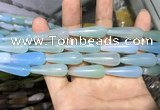 CAA2075 15.5 inches 10*30mm teardrop agate beads wholesale