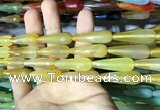CAA2095 15.5 inches 10*30mm faceted teardrop agate beads