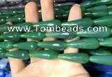 CAA2105 15.5 inches 10*30mm faceted teardrop agate beads