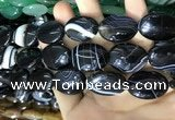 CAA2183 15.5 inches 18*25mm oval banded agate beads wholesale