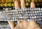 CAA2190 15.5 inches 4mm faceted round banded agate beads