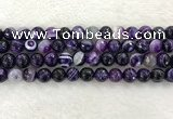 CAA2214 15.5 inches 10mm faceted round banded agate beads