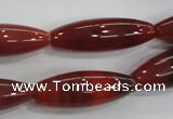 CAA222 15.5 inches 10*30mm rice red agate gemstone beads