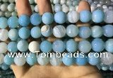 CAA2247 15.5 inches 14mm faceted round banded agate beads
