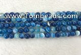 CAA2258 15.5 inches 8mm faceted round banded agate beads