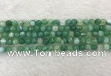 CAA2278 15.5 inches 6mm faceted round banded agate beads