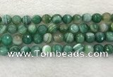 CAA2281 15.5 inches 12mm faceted round banded agate beads