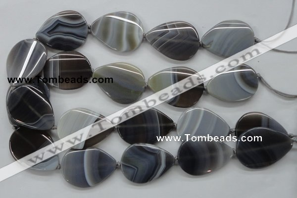 CAA237 15.5 inches 30*40mm flat teardrop grey line agate beads