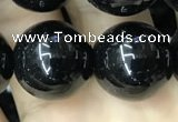 CAA2408 15.5 inches 16mm round black agate beads wholesale