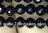 CAA2425 15.5 inches 4mm faceted round black agate beads wholesale