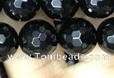 CAA2429 15.5 inches 12mm faceted round black agate beads wholesale