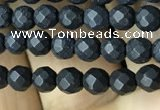 CAA2437 15.5 inches 4mm faceted round matte black agate beads