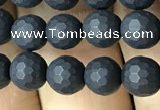 CAA2438 15.5 inches 6mm faceted round matte black agate beads